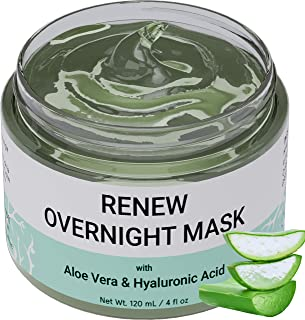 Renew Overnight Sleeping Facial Mask by Doppeltree with Aloe Vera & Hyaluronic Acid - Hydrating Face Mask for Night Time S...