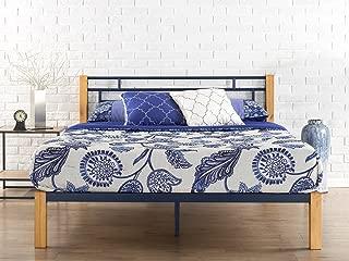 Zinus Taylan Metal and Wood Platform Bed / Mattress Foundation / Wood Slat Support, Full