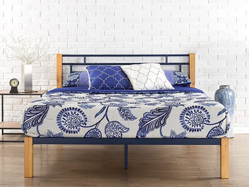 Zinus Taylan Metal And Wood Platform Bed Mattress Foundation Wood Slat Support Queen