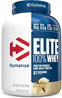Dymatize Elite 100% Whey Protein Powder, Take Pre Workout or Post Workout, Quick Absorbing & Fast Digesting, Gourmet Vanilla, 5 Pound