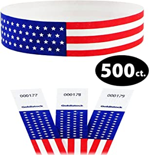 """Tyvek Wristbands - Goldistock Traditional Old Glory Flag with Stars 500 Count - ¾"""" Arm Bands - Paper-Like Party Armbands - Red, White & Blue - Patriotic Wrist Bands for Your Special Event"""