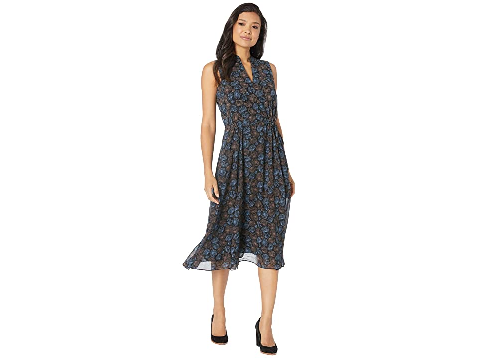 Anne Klein Justine Print Drawstring Midi Dress (Anne Black/Versailles Combo) Women