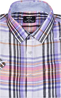 ESTILO Linen Cotton Shirt Men's Casual Purple Plaid