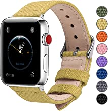 Fullmosa Compatible Apple Watch Band 44mm 42mm 40mm 38mm, 8 Colors Canvas Style for iWatch Strap Compatible with Apple Watch Series 4/5 (44mm) Series 3/2/1 (42mm),44mm 42mm Pear Yellow