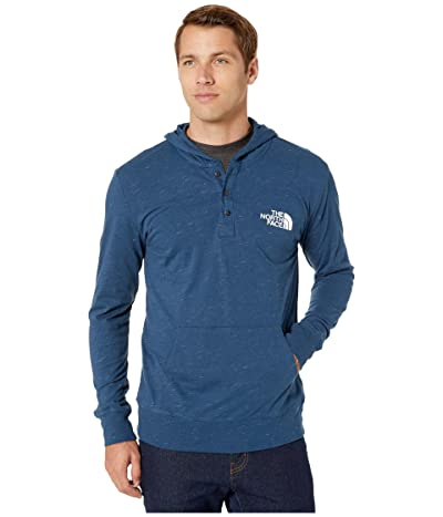 The North Face Henley New Injected Pullover Hoodie (Blue Wing Teal Heather/TNF White) Men