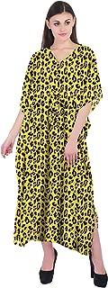 RADANYA Tiger Print Women's Casual Loose Maxi Long Kaftan Dress 3/4 Sleeve Cotton Caftan