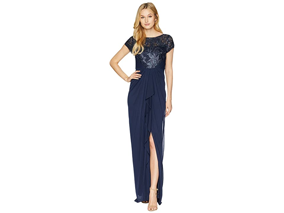 Adrianna Papell Long Tulle Gown with Embellished Bodice (Midnight) Women