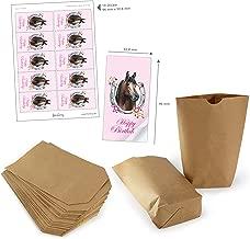 Set de bolsas de regalo marrón 14 x 22 cm + HAPPY BIRTHDAY PFERD HUFEISEN ROSA