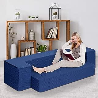 Sleeplace Tri-Folding Memory Foam Mattress, Twin, Blue