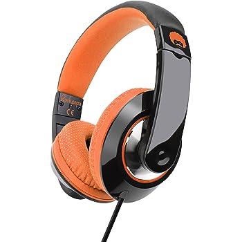 Rockpapa Comfort+ Adjustable Over Ear Headphones Earphones with Microphone in-line Volume for Adults Kids Childs Teens, Smartphones Laptops DVD MP3/4 Surface iPhone iPod iPad MacBook Black Orange