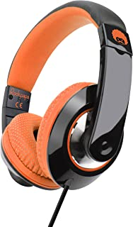 Rockpapa Comfort+ Over Ear Headphones Earphones with Microphone & Volume Control for Kids Childs Adults, Mobile Laptops Tablets Surface iPhone iPad MacBook in Car/Airplant Black Orange