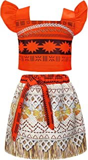 Moana Costume for Girls Dress up Toddler Baby Cosplay Outfit Little Kids Skirt Sets