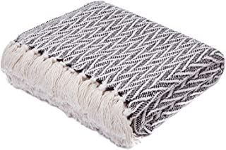 Americanflat Nira Black and Cream Chevron Cotton Blanket Throw with Fringe - 50x60 Inches