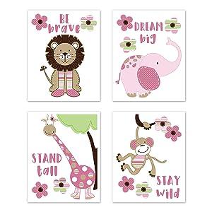 Sweet Jojo Designs Jungle Safari Animals Wall Art Prints Room Decor for Baby, Nursery, and Kids - Set of 4 - Pink and Green Lion Monkey Giraffe Elephant Friends Flowers
