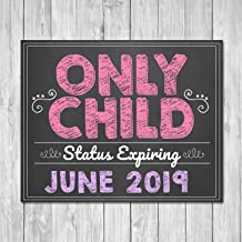 ShoppeCo Pregnancy Announcement Pink Only Child Expiring Sibling Announcement Expecting Wood Pallet Design Wall Art Sign Plaque Wooden Signs