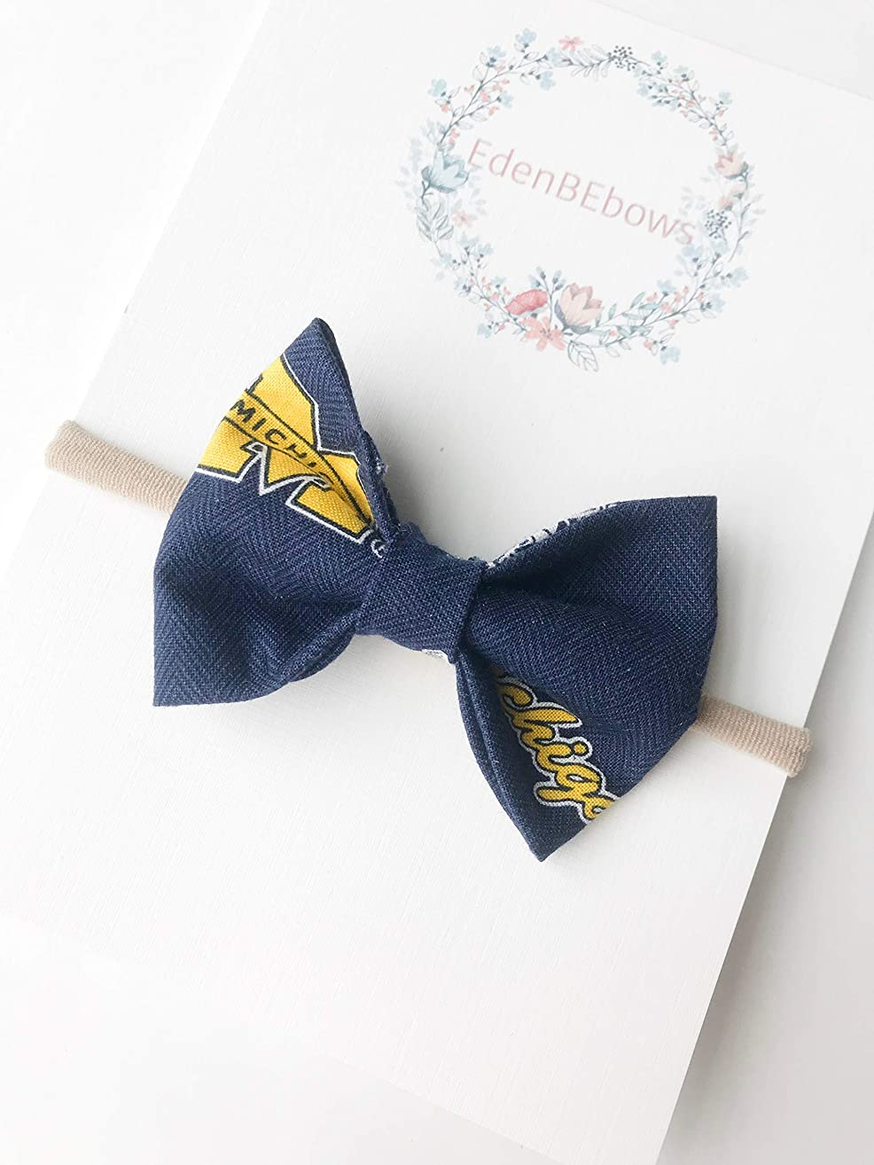 University of Michigan Wolverine Headband bow - great for baby shower, newborn, toddler girls - extra soft nylon headbands