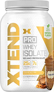 Xtend Pro Protein Powder Cookie Butter | 100% Whey Protein Isolate | Keto Friendly + 7g bcaas with Natural Flavors | Gluten Free Low Fat Post Workout Drink | 1.8lbs