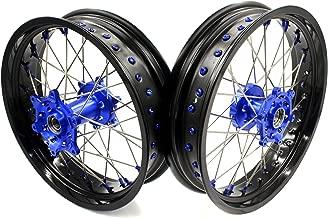 KKE YAMAH WHEEL 3.5×17/4.25×17 YZ125 YZ250 YZ250F YZ450F SUPERMOTO MOTARD WHEELS SET 99-17 01-17 03-17 BLUE NIPPLE