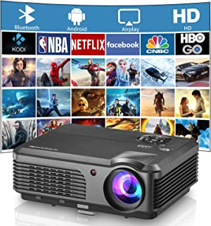 HD WiFi Bluetooth Video Projector 4400 Lumen LED LCD Home Theater Smart Android Phone Gaming DVD Projector Screen Mirror A...