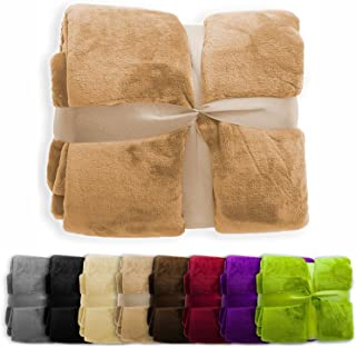 casa pura Fleece Throw Blanket   Plush Blanket Throw for Couch or Twin Size Bed   Super Soft & Cozy Fur Blankets   Various Sizes and Colors   Sand - 60