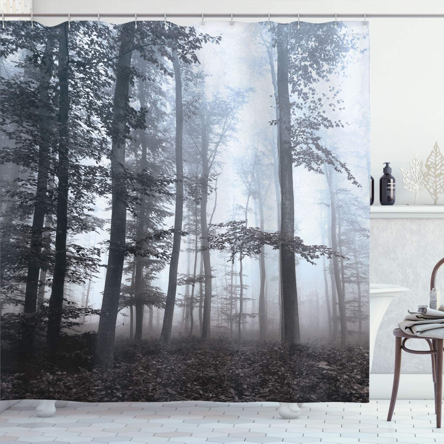Ambesonne Forest Shower Curtain Autumn Excellent Fall Foggy New color Mystic Season