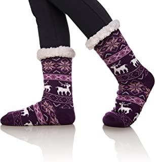 SDBING Women's Winter Super Soft Warm Cozy Fuzzy Snowflake Deer Fleece-lined Christmas Gift With Grippers Slipper Socks