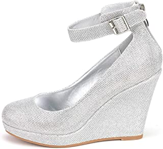 09326e35fcce7 DREAM PAIRS Women s Mary Jane Round Toe Platform Fashion Wedges Pumps Shoes