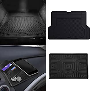 FH Group F16406 Premium Trimmable Rubber Cargo Mat w. FH3011 Silicone Anti-Slip Dash Mat, Black Color- Fit Most Car, Truck, SUV, or Van