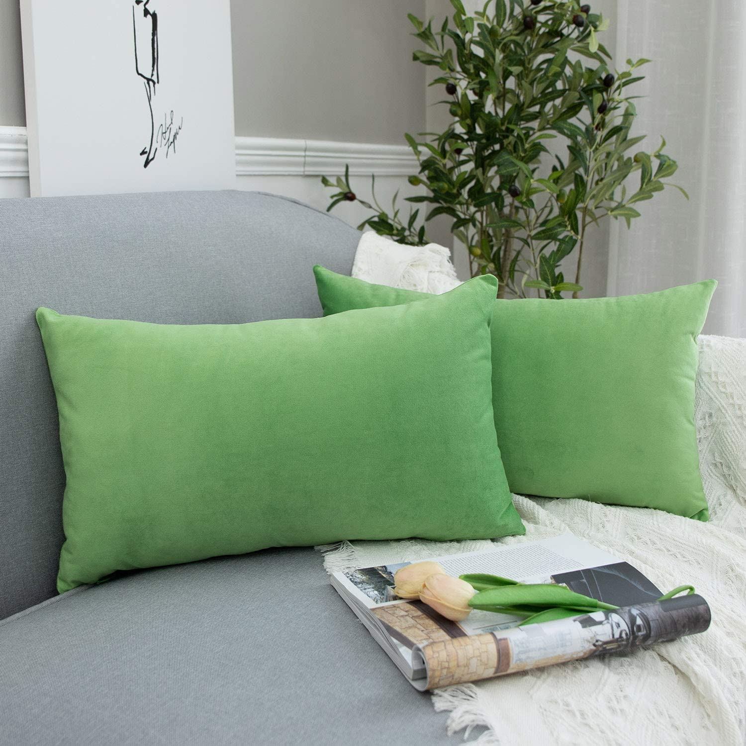JUSPURBET Apple Green Decorative Velvet Throw Pillow Covers 16x24,Pack of 2 Luxury Soft Solid Cushion Cases for Sofa Couch Bed