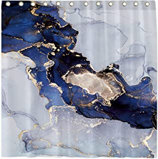 Modern Fabric Shower Curtain,Marble Pattern of Blue, Glod, Black, Navy, and Purple,Abstract Gold Glitter Splatter Bathroom...