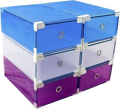 6 scatole Porta Scarpe (Uomo, Donna) salvaspazio Resistenti +10% PVC My Box TO Store Contenitore in plastica Trasparente, 3 Colori (Bianco, Blu, Viola) per Migliorare l'organizzazione del Tuo Armadio