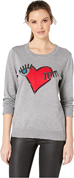 Eye Heart Motif Knit Sweater