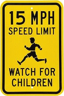 Riuolo Fluorescent Diamond Grade Reflective Aluminum Sign, Legend 15 MPH Speed Limit Watch for Children, 18