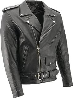 M-BOSS MOTORCYCLE APPAREL-BOS11512-Men's eagle embossed classic M/C biker leather jacket-BLK-MEDIUM
