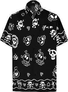 Men's Skull Halloween Costume Casual Camp Hawaiian Shirts Printed A