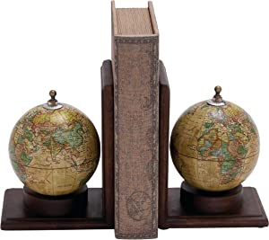"""Deco 79 Pair of Traditional Wood and Metal Globe Book End 8"""" H, 6"""" W-38119, 8"""" and 8"""" H, Textured Multicolor Finish"""
