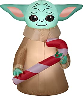 Gemmy 4.5Ft. Tall Star Wars The Mandalorian The Child Baby Yoda Holding Candy Cane Christmas Airblown Inflatable Indoor/Ou...