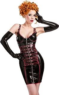 Westward Bound Pleasure Latex Rubber Dress. Black with Pearl Sheen Red Trim.