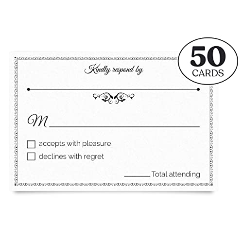 Jot & Mark RSVP Postcards 4x6 (50 Count) for Wedding, Party, Reception, Shower, Birthday