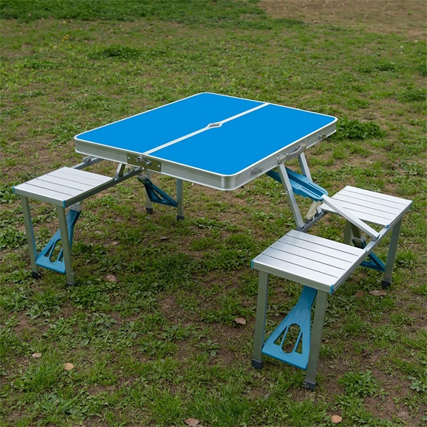 Cqq Folding Table Folding Table Outdoor Portable Aluminum Alloy Siamese Tables and Chairs Set Picnic Barbecue Stall Table Publicity Industry Table (color   blueee)