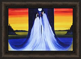Two Spirits Meet by Betty Albert 16x22 Native American Indian Man Woman Couple Moon Lake Framed Art Print Picture