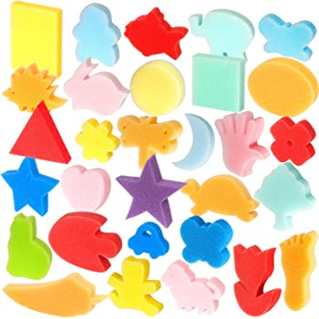 Outus 24 Pieces EVA Painting Sponges Foam Painting Stamper Double-Side Sponge Stamper Paint Drawing Sponges for Kids Toddlers Early Learning and Crafts DIY Assorted Shapes