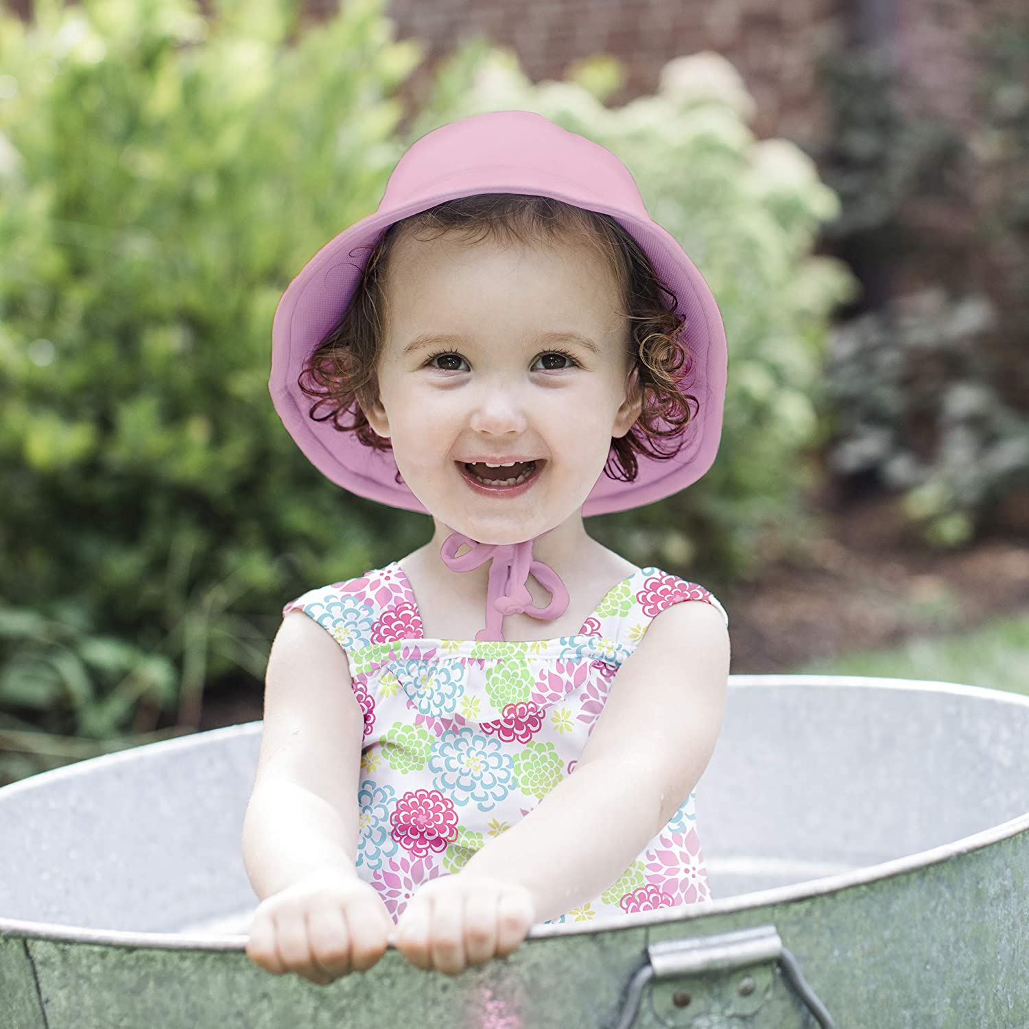 i play by green sprouts Girls Sun Protection Hat and Two-Piece Ruffle Tankini Set