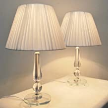 Pair of New Deco Modern Designer Bedside Table Lamps with White Ribbon Shade Set of 2 (60)