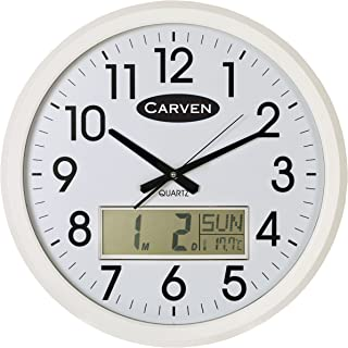 CARVEN 0346051 LCD Calendar Clock, 47CM White