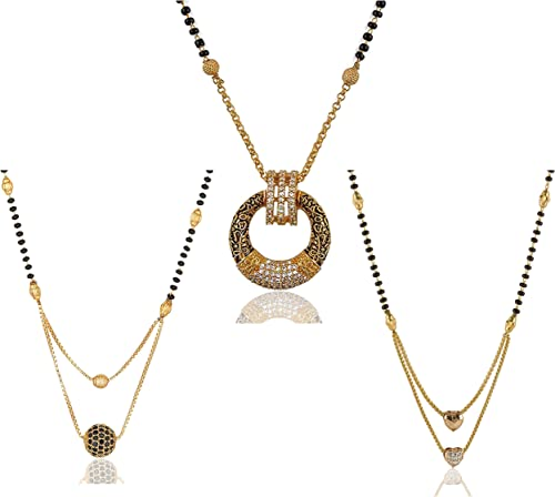 One Gram Gold Plated Love Heart Ad Ball And Round Combo Of 3 Mangalsutra Necklace Pendant Tanmaniya Nallapusalu Black Bead Chain For Woman And Girls