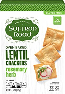 Saffron Road Oven Baked Lentil Crackers, Non-GMO, Gluten-Free, Halal, Rosemary Herb, 4.5 Ounce (Pack of 6)