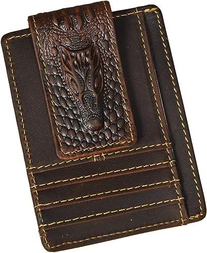 Le'aokuu Genuine Leather Magnet Money Clip Credit Card Case Holder Slim Card Wallet 1015 (1015 Dark Brown Crocodile E...
