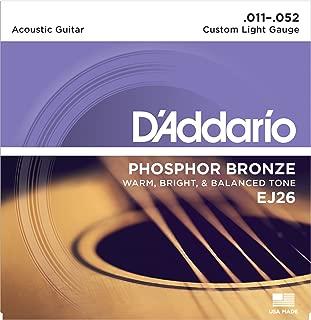 D'Addario Phosphor Bronze Acoustic Guitar Strings, Custom Light, 11-52 (EJ26)