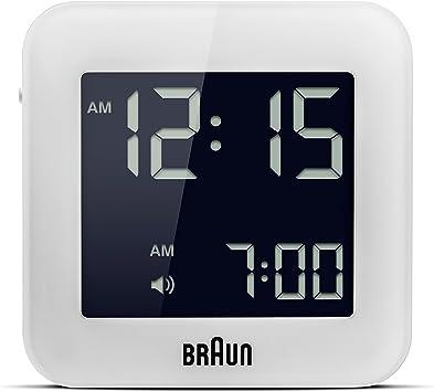 Braun BNC-008-WH Reloj despertador digital de viaje,